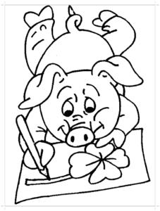 свинка рисует цветочек