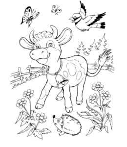 теленок ежик и птички