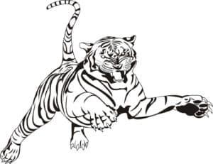 тигр в прыжке