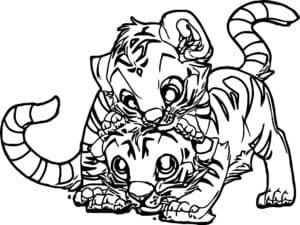 тигрята играются