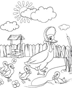 Утка и утята у колодца