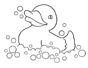 утенок в мыльных пузырьках
