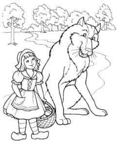 волк с красной шапочкой раскраска