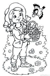 девочка с лукошком ягод