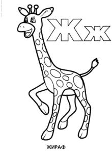раскраска буквы Ж жираф