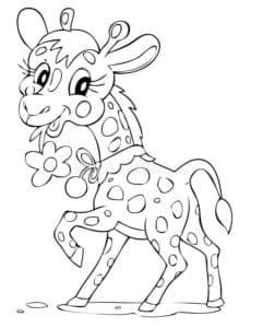 жираф с цветочками