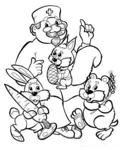 айболит с белкой и зайцем