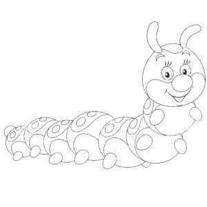 раскраска детская гусеница