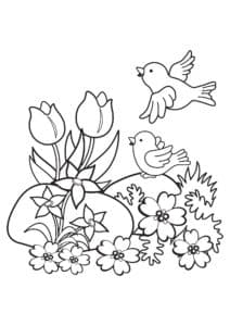 птички с цветочками раскраска