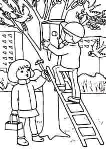 дети и скворечник