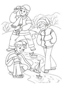 дети играют на речке