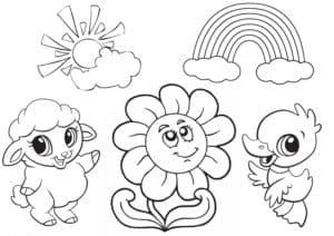 барашик птенец и цветочек