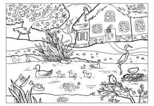 утка и журавль