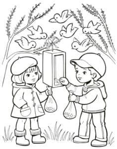 дети кормят птичек