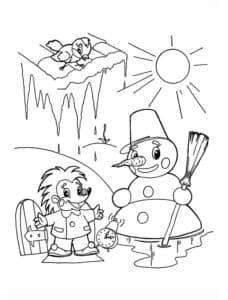 снеговик и ежик