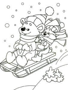 медвежата на санках