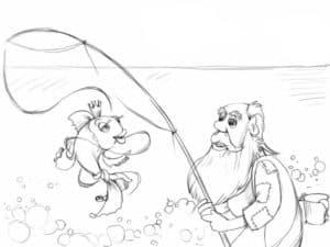 рыбак и золотая рыбка раскраска