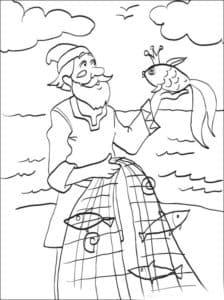 старик с неводом и золотой рыбкой
