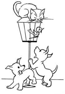 щенки и кошка на столбе