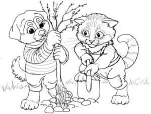 собака и кот сажают дерево