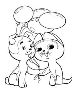 собачка и кошка с воздушными шарами