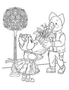 Каркуша и хрюша с цветами