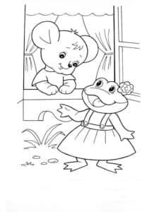 мышка и лягушка раскраска для детей