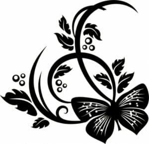 бабочка и цветы трафарет