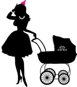 женщина с коляской трафарет