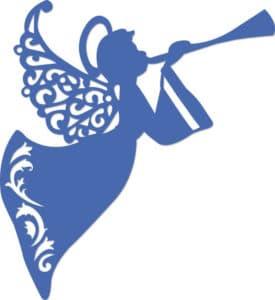 ангелочек с узорами и флейтой