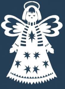 трафарет ангела в шарфике