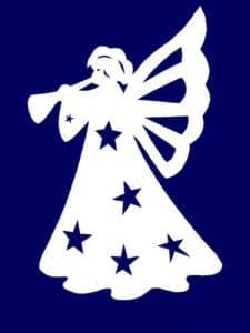 трафарет ангела с синими звездочками