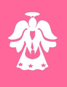 трафарет белый ангел на розовом фоне