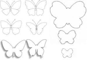 много бабочек для раскраски или вырезания