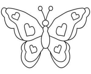 бабочка с сердечками трафарет