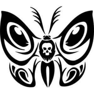 бабочка с черепом трафарет