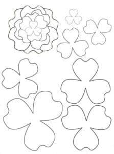 листочки и цветочки трафарет
