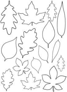 формы листиков трафарет