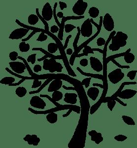дерево с листьями трафарет