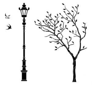 дерево и столб