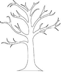 дерево трафарет-раскраска