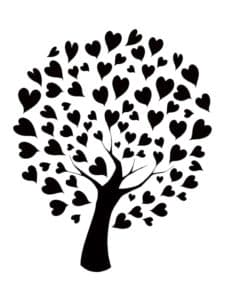 дерево с листьями сердечками