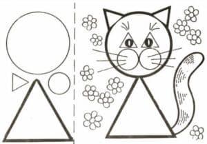 трафарет для аппликаций кошка с цветочками