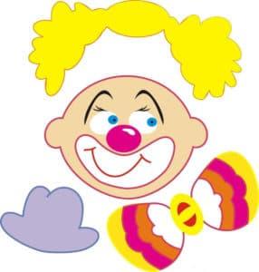 трафарет для аппликаций разноцветный клоун