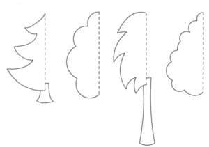 трафарет деревьев для аппликаций
