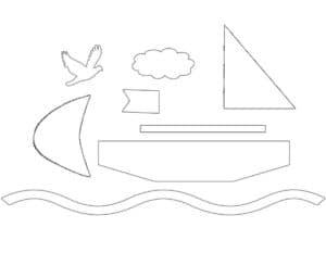 трафарет кораблика для аппликаций