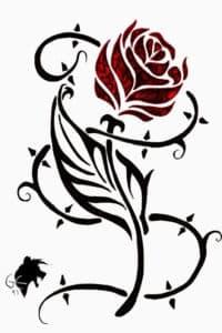 трафарет роза с шипами
