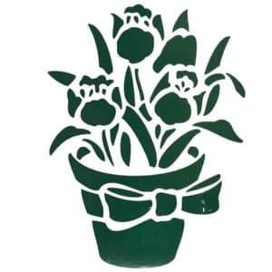 цветы в вазе трафарет для стены