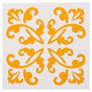 желтые узоры трафарет для стены