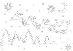 дед мороз летит на оленях
